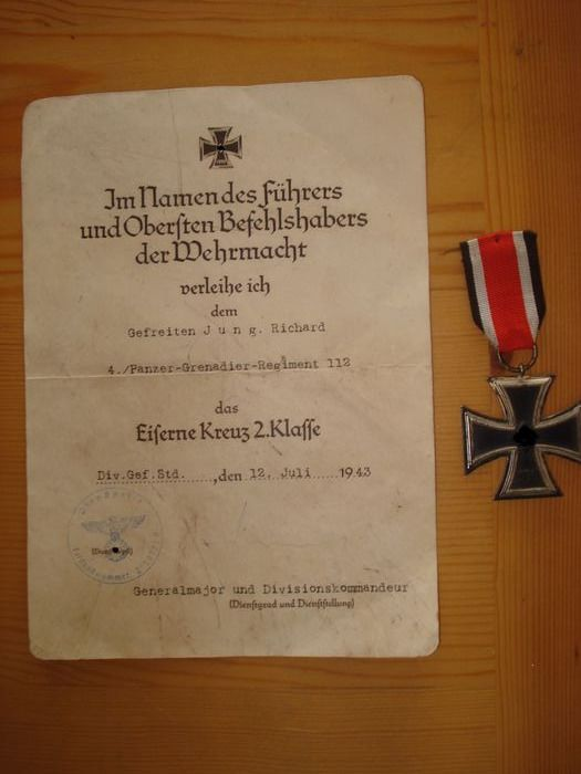 Germany - Army/Infantry - Iron Cross 2nd class with certificate Canceled L / 11