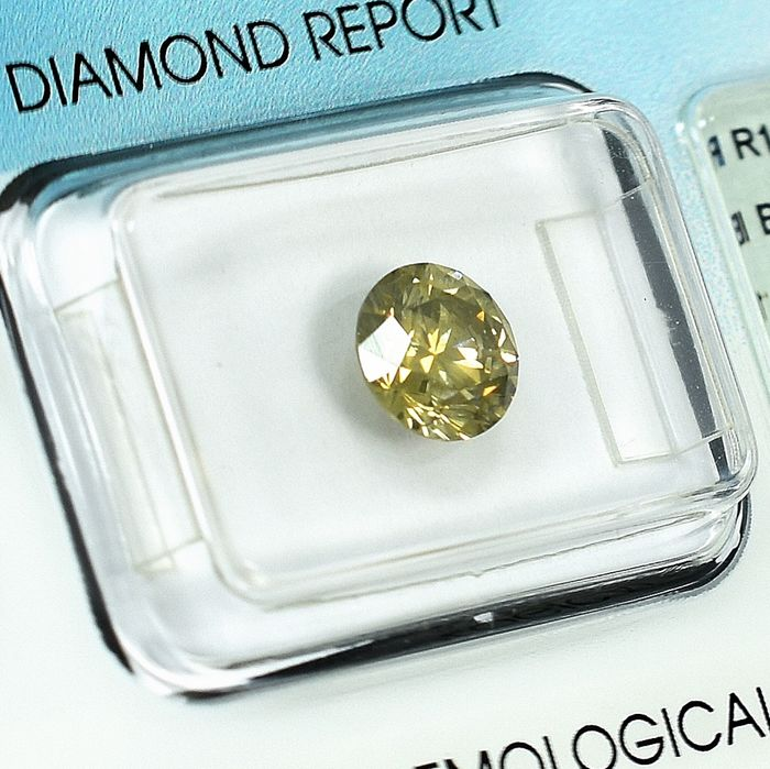 Diamant - 1.36 ct - Brillant - Natural Fancy Intense Brownish Yellow - Si2 - NO RESERVE PRICE
