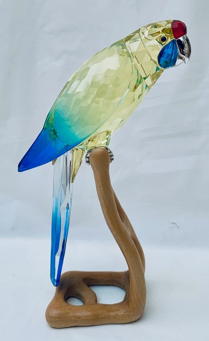 Swarovski Crystal Paradise Birds Collection - Green Rosella Jonquil Figurine (1) - Silver Cystal