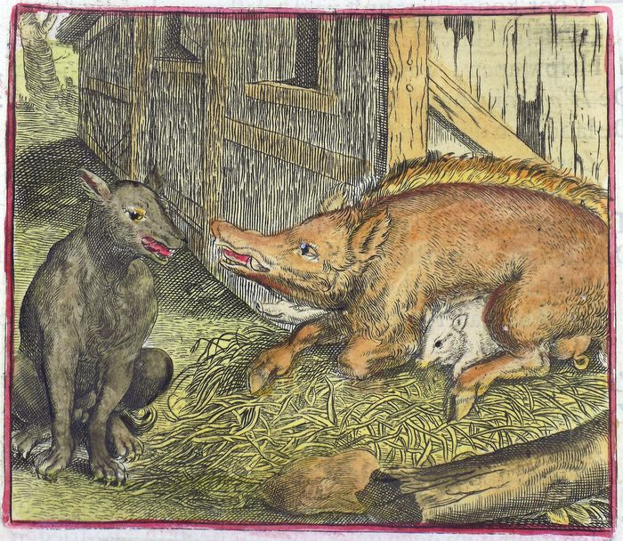 Marcus Gheeraerts the Elder (c. 1520 – c. 1590) - copper engraving, hand coloured - The Wolf, Sow and Piglets - 1617