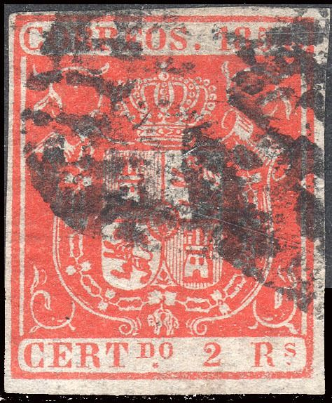 Spanje 1854 - Coat of arms of Spain - 2 reales red - Used. - Edifil 25