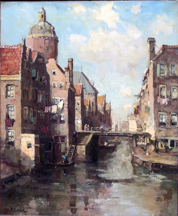 Unknown Artist (20th century) - A view of city with canals