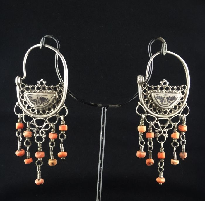 Earrings - Coral, Silver - Tajikistan