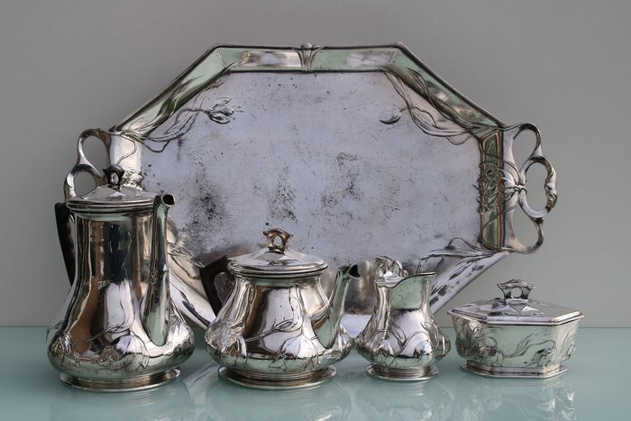 Orivit - Art Nouveau silver plated 5 piece tea coffee set