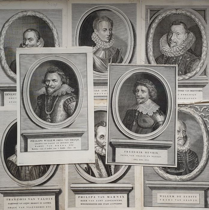 8 prints - Unknown artists (17th century) - Large Portraits of Dutch historical figures, Willem Prins van Oranje & other