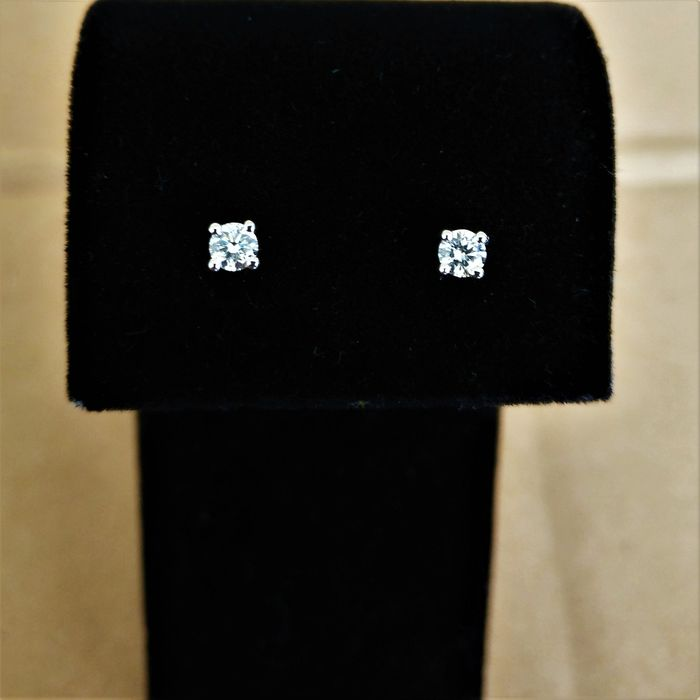 18 kt. White gold - Earrings - 0.23 ct Diamond