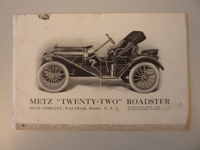 "Brochures / catalogues - METZ - METZ "" TWENTY-TWO ""  ROADSTER - 1912"