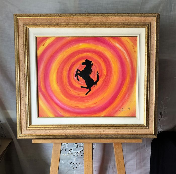 "Oil painting on canvas by Lione Fioravante, ""Vortice Ferrari"" - 1974"