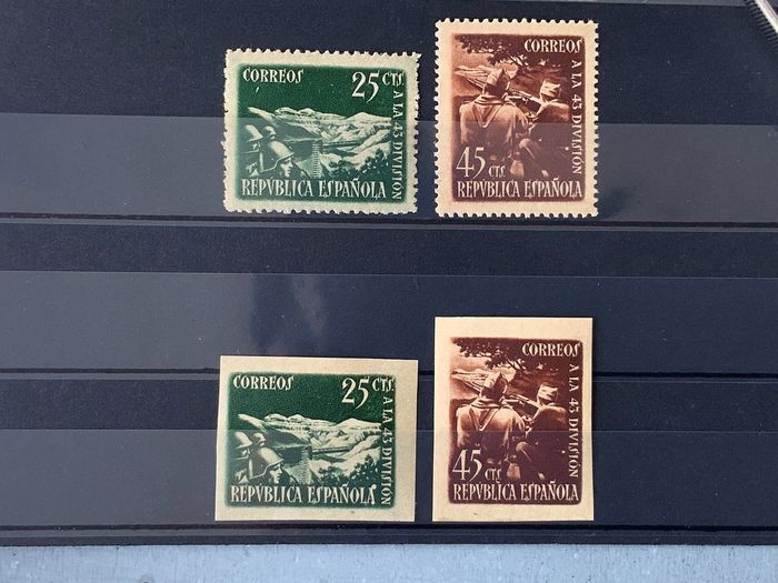 Spanje 1938 - 43th Division complete sets, perforated and imperforated - Edifil 787/88 + 787A/88A