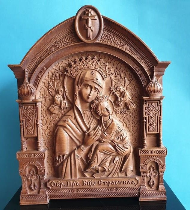 """Hight quality"""" The Mother of God Unceasing help (Passionate)""""  Russian Orthodox Large Carved - Icono - Madera"""