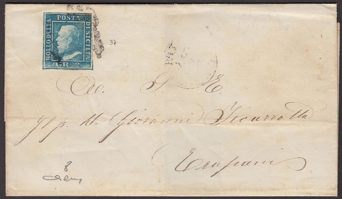 Sicilië 1859 - 2 gr. light azure III plate Palermo paper from Palermo to Trapani 31/3/60 - Sassone N. 8