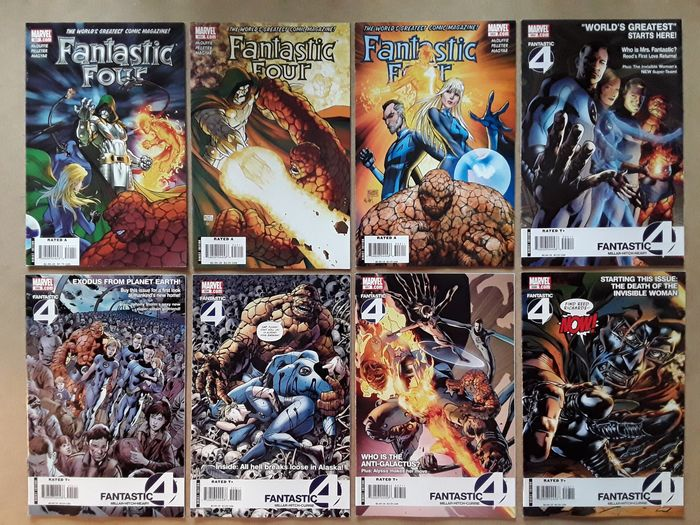 """Fantastic Four - 38X  Complete Run - #551-588 (Final Issue) including 587 poybagged """"death"""" of Human Torch - Spider-Man, Dr. Doom, the Inhumans, Namor the Sub Mariner, Anti-Galactus, Psionics, The Hooded Man - Softcover - Erstausgabe - (2008/2011)"""