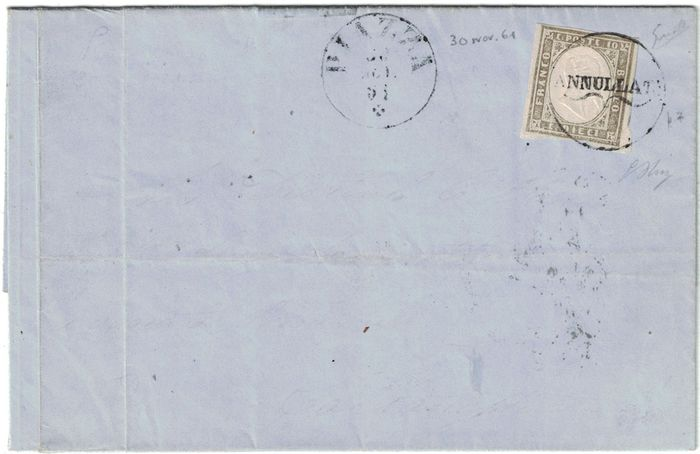 Sardinië 1861 - 10 cents light olive grey, on letter from Piazza (with cancellation) to Caltanisetta - Sassone N. 14C