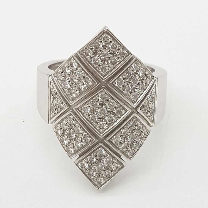 ZANCAN HRD NO RESERVE PRICE - 18 kt. White gold - Ring - 0.80 ct Diamond