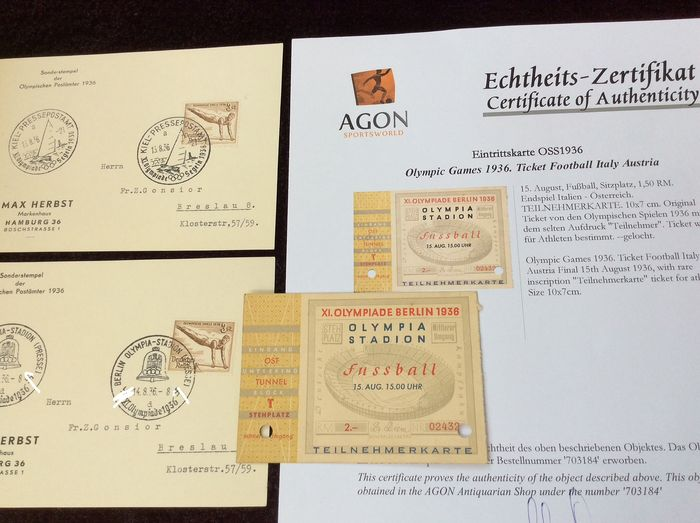 Germany..Original Berlin Olympics 1936. Football final ticket, Italy v Austria. ( participants - Certificate of authenticity. 2 postal cards with special Olympic stamp. ( press ) - 1936
