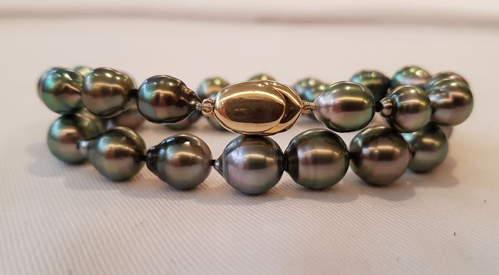 NO RESERVE PRICE - 925 Silver - 8.5x11mm Peacock Tahitian Pearls - Bracelet