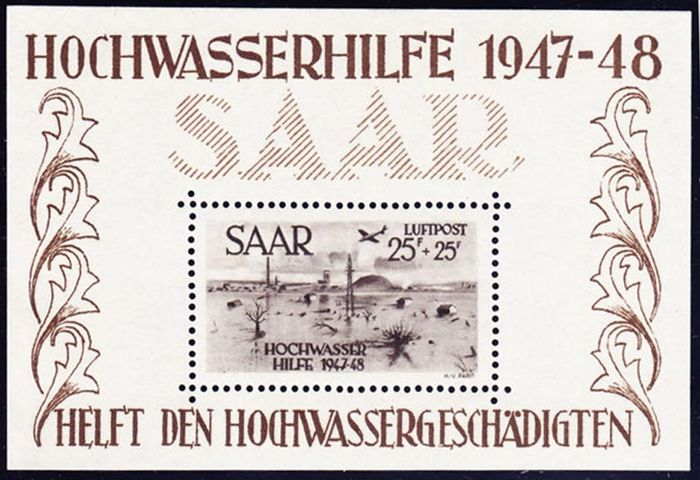 Saargebied 1948 - Sheet-block with The Airmail Stamp N°12 - Yvert 2