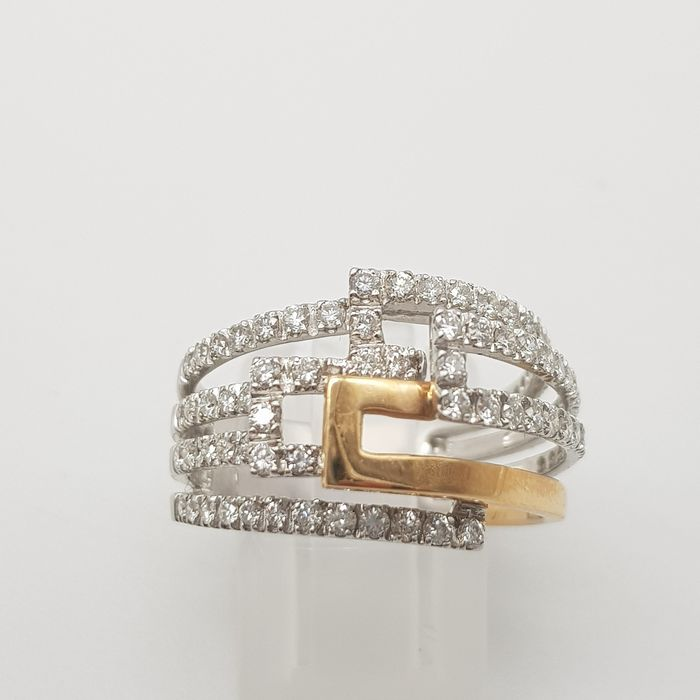 chimento hrd no reserve price - 18 kt. White gold, Yellow gold - Ring - 0.65 ct Diamond