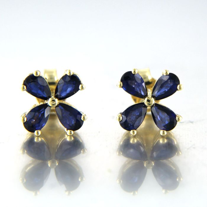 18 kt. Yellow gold - Earrings - 1.90 ct Sapphire