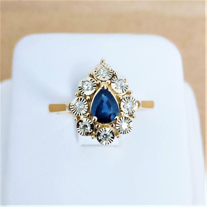 18 kt. Yellow gold - Ring - 0.58 ct Sapphire - Diamonds