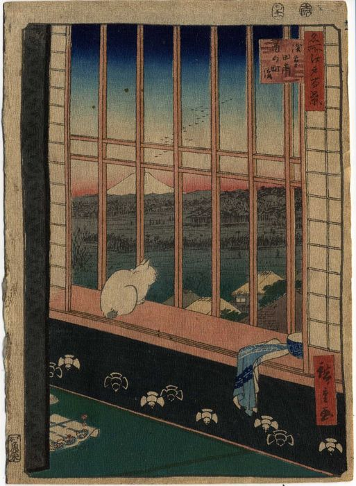 "Chirimen-e, Original woodblock print - Utagawa Hiroshige (1797-1858) - Les rizières d' Asakusa - De la série ""Meisho Edo hyakkei"" 名所江戸百景 (Cent vues d'Edo) - it. 1857"