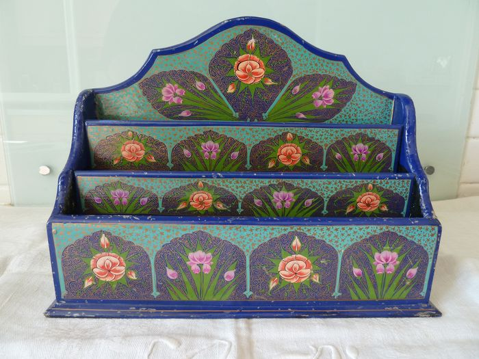 old wooden document holder hand painted (1) - hand-painted wood