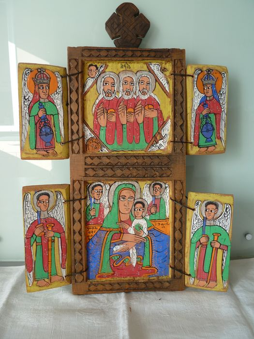 Ethiopian altar in hand-painted wood (1) - hand-painted wood