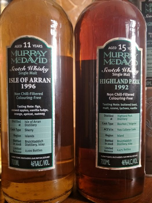 Arran 1996 11yo and Highland Park 1992 14yo - Limited Edition - Murray McDavid - 0.7 Ltr - 2 bottles