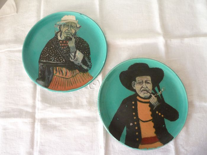 hand-painted earthenware plates, folk art (2) - earthenware