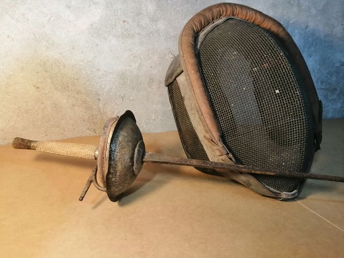 Olympic foil and 20s fencing mask (2) - Iron (cast/wrought), Leather