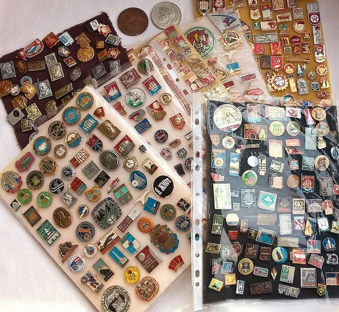 USSR  - Collection of pins – Cities, Lenin and more (500) - Aluminium, Brass, Enamel