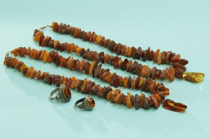 Antique set 100% natural amber Amber - Necklace, Necklace with pendant, Pendant, Ring, Set - Natural (untreated)