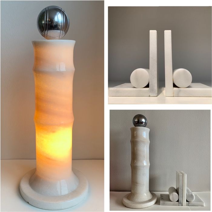 Lamp, bookends (3) - Steel, natural stone