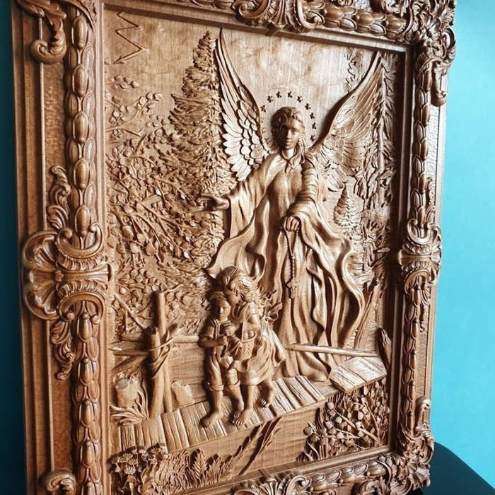 Guardian Angel & Children - Russian Orthodox  - Icoon - Hout