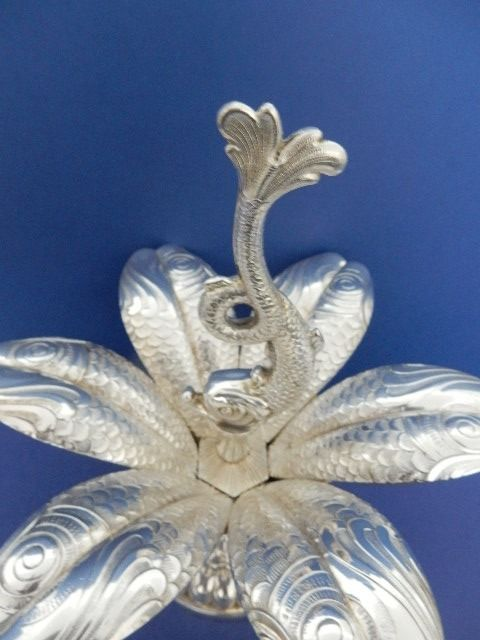 """""""CHRISTOFLE / FLEURON FRANCE"""" - """"FLOWER OF POSEIDON"""" - Splendid service with caviar or appetizers - Silver plated"""