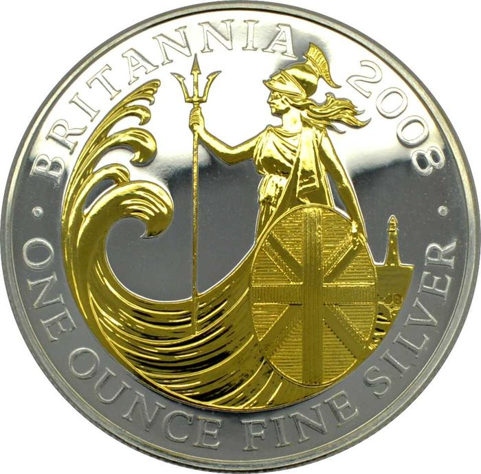United Kingdom - 2  Pound 2008 Britannia gilded  - Silver