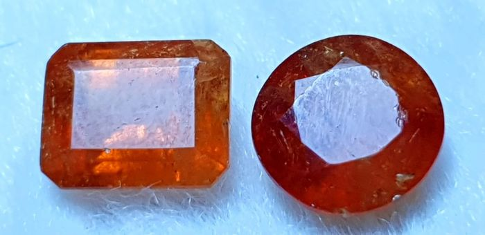 2 pcs Orange Garnet - 7.25 ct