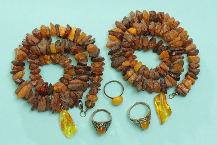 Vintage set 100% natural amber Amber - Necklace, Necklace with pendant, Pendant, Ring, Set - Natural (untreated)
