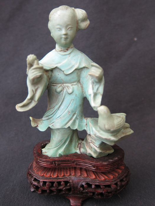 Image carved in natural turquoise - Stone - China - First half 20th century