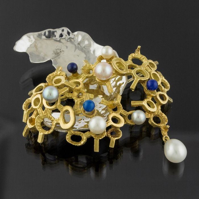 Designer - 18 kt. White gold, Yellow gold - Brooch Pearl - Lapis lazuli