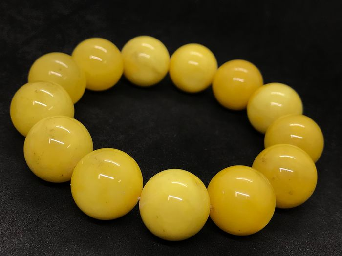 Baltic Amber Round Beads - Bracelet With Certificate - Commonly treated