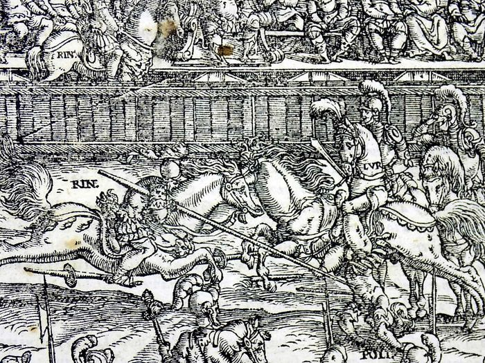 1558 Quarto Woodcut Orlando furioso - Knights in Armour Joust - - Ludovico Ariosto - Woodcut leaf - 1558