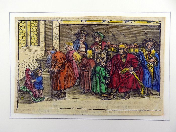 Hans Weiditz (1500-1536) - Large Master Woodcut - The Village Dance - Hand coloured - From the Collection of Willy Roth - 1532