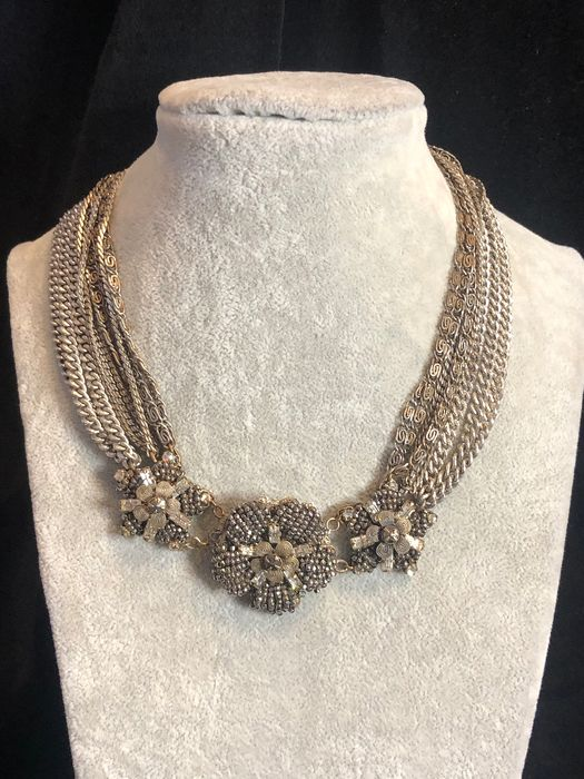 Silver tone - Fully signed Large Miriam Haskell necklace