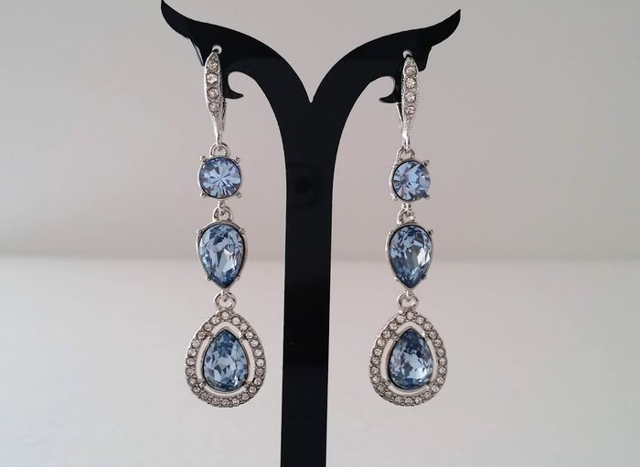 Givenchy Blue & Clear Crystal Dangle Earrings
