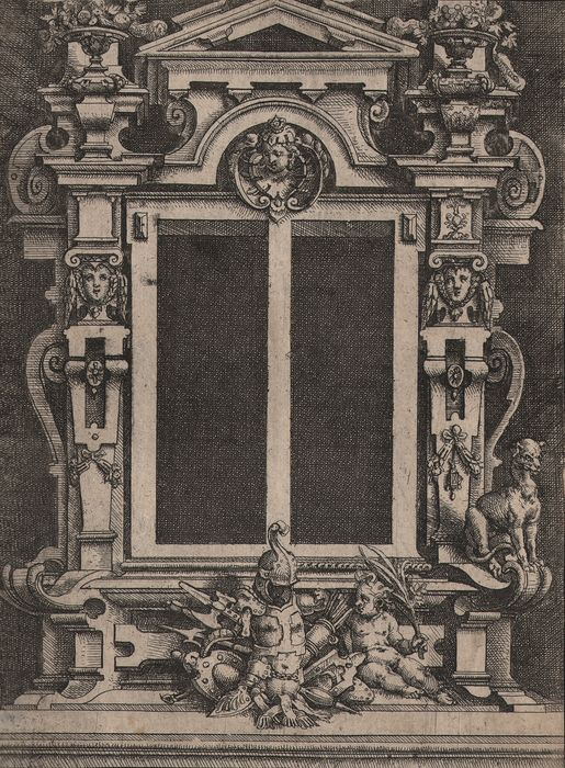Wendel Dietterlin (1550-1599) - Fireplace with armory  - Prov. Royal collection Munich