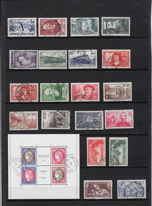 Frankreich 1937 - Complete year with selected postmarks - Yvert 334 à 359 et 363 à 371