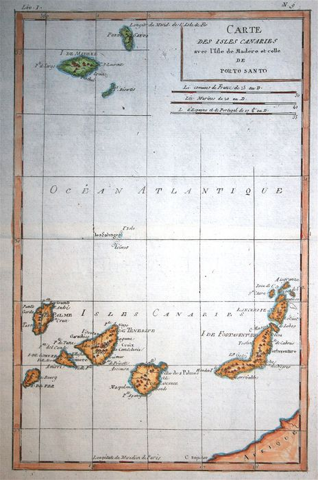 Spagna, Canary Islands; Bonne - Carte des Isles Canaries - 1780