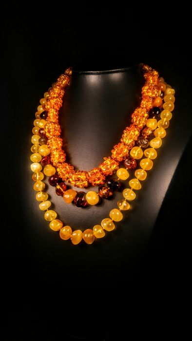 Set Baltic amber - Necklace - Natural (untreated)