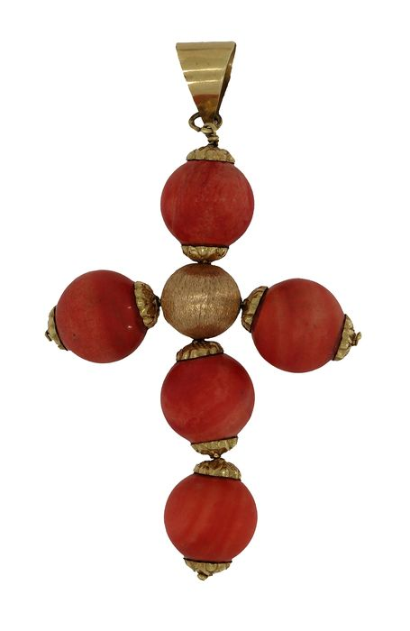 Kruis - 18 kt. Yellow gold - Pendant Blood coral